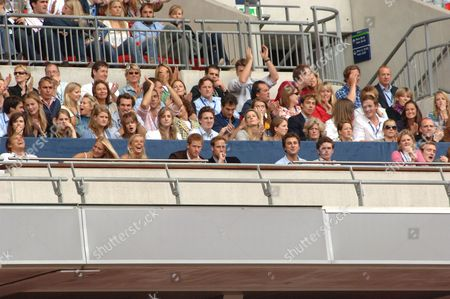 Chelsy Davy, Prince Harry, Prince William, (behind, right), Lady Jane Fellowes, Kate Middleton, Zara Phillips, Pippa Middleton and Mike Tindall