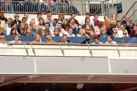 Chelsy Davy, Prince Harry and Prince William, (behind, right), Lady Jane Fellowes, Zara Phillips
