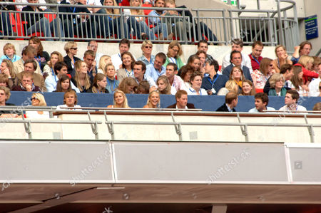 Chelsy Davy, Prince Harry, Prince William, (far right) Lady Jane Fellowes and Kate Middleton (facing right of frame)