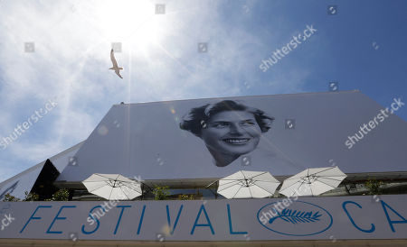 A bird flies past the official banner depicting actress Ingrid Bergman outside the Palais des Festivals ahead of the 68th international film festival, Cannes, southern France, . The festival opens on Wednesday, May 13 and runs until Sunday, May 24