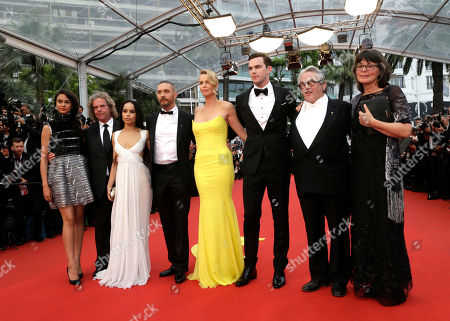 Actress Courtney Eaton, producer Doug Mitchell, actors Zoe Kravitz, Tom Hardy Charlize Theron, Nicholas Hoult, director George Miller and Margaret Sixel from left to right, pose for photographers on the red carpet for the screening of the film Mad Max: Fury Road at the 68th international film festival, Cannes, southern France