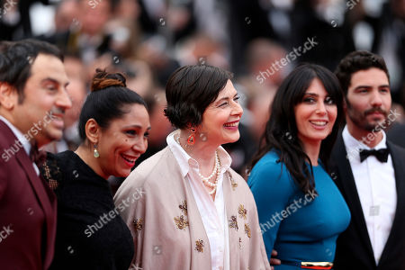 From left, Un Certain Regard jury members Panos H. Koutras, Haifaa Al-Mansour, Isabella Rossellini, Nadine Labaki and Tahar Rahim pose for photographers as they arrive for the screening of the film Mad Max: Fury Road at the 68th international film festival, Cannes, southern France