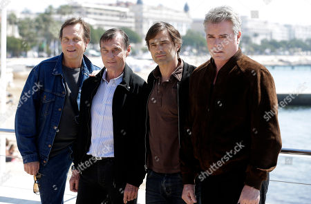 "Left to right, American actor Bill Paxton, Director Roland Joffe, French film actor Olivier Martinez and American actor Ray Liotta pose for photographers during the MIPTV International Television Programme Market, in Cannes, southern France. They present the brand new tv series ""Texas Rising"