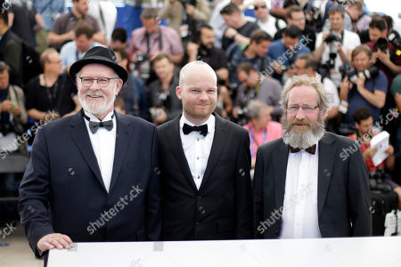 From left, actor Theodor Juliusson, director Grimur Hakonarson and Sigurdur Sigurjonsson pose for photographers during a photo call for the film Hrutar (Rams), at the 68th international film festival, Cannes, southern France