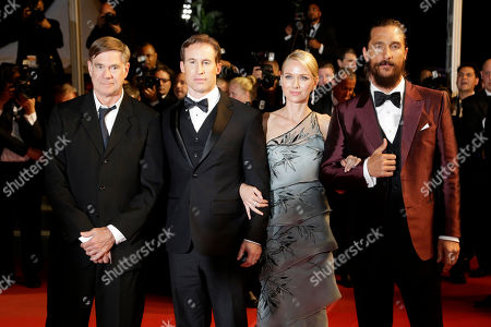 From left, director Gus Van Sant, screenwriter Chris Sparling, actors Matthew McConaughey and Naomi Watts pose for photographers as they leave following the screening of the film The Sea of Trees at the 68th international film festival, Cannes, southern France