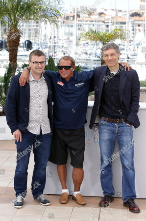 Director John McKenna, producer Chad McQueen and director Gabriel Clarke during a photo call for the film Steve McQueen: The Man & Le Mans, at the 68th international film festival, Cannes, southern France