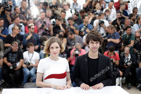 Actors Angeliki Papoulia, left, and Ben Whishaw pose for photographers during a photo call for the film The Lobster, at the 68th international film festival, Cannes, southern France