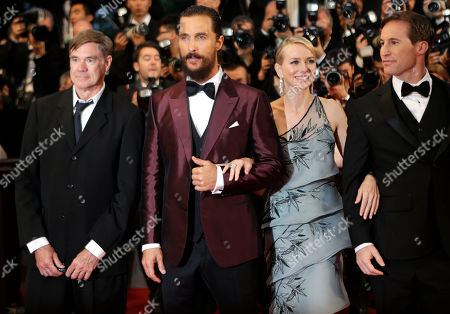 Director Gus Van Sant, Matthew McConaughey, Naomi Watts and Chris Sparling poses for photographers upon arrival for the screening of the film The Sea of Trees at the 68th international film festival, Cannes, southern France