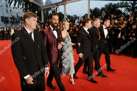 From left, director Gus Van Sant, actors Matthew McConaughey, Naomi Watts, screenwriter Chris Sparling, cinematographer Kasper Tuxen and producer Ken Kao pose for photographers upon arrival for the screening of the film The Sea of Trees at the 68th international film festival, Cannes, southern France