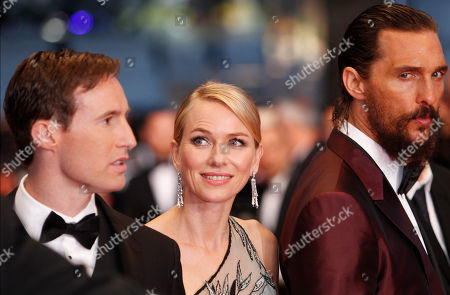 From left, screenwriter Chris Sparling, actors Naomi Watts, and Matthew McConaughey pose for photographers upon arrival for the screening of the film The Sea of Trees at the 68th international film festival, Cannes, southern France