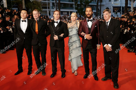 From right, director Gus Van Sant, actors Matthew McConaughey, Naomi Watts, screenwriter Chris Sparling, cinematographer Kasper Tuxen and producer Ken Kao pose for photographers upon arrival for the screening of the film The Sea of Trees at the 68th international film festival, Cannes, southern France