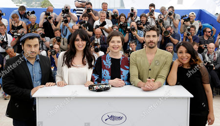 From left, jury members Panos H. Koutras, Nadine Labaki, Isabella Rossellini, Tahar Rahim and Haifaa Al-Mansour pose for photographers during a photo call for the jury of Un Certain Regard, at the 68th international film festival, Cannes, southern France