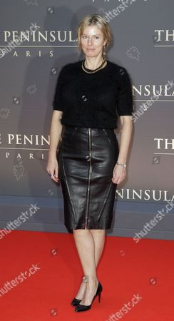 Karine Viard French actress Karine Viard poses during a photocall on the red carpet at the Peninsula Paris luxury hotel inauguration ceremony in Paris