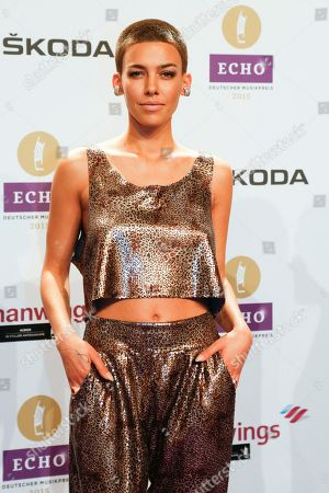 Stock Image of Alina Sueggeler, singer of the band Frida Gold arrives for the 2015 Echo Music Awards in Berlin, . The German music awards are held every year by the German Phono academy