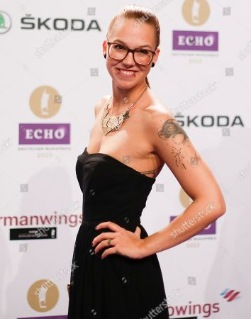 Singer Stefanie Heinzmann arrives for the 2015 Echo Music Awards in Berlin, . The German music awards are held every year by the German Phono academy
