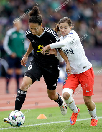Frankfurt's Celia Sasic, left, and Paris Saint-Germain's Laure Boulleau, right, challenge for the ball during the Women's Champions League Final soccer match between 1. FFC Frankfurt and Paris Saint-Germain in Berlin, Germany