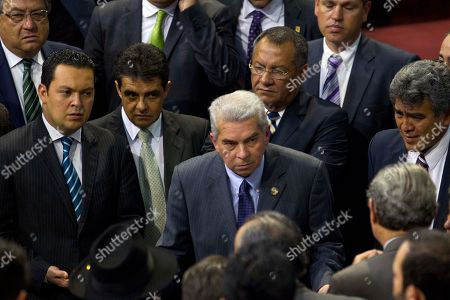 Luis Rabbe Guatemalan Congress President Luis Rabbe, center, listens to other lawmakers during the election of a new Guatemalan Vice President to replace Roxana Baldetti, who resigned on Friday, inside Congress in Guatemala City, . The discussion was suspended for Wednesday. The Former Vice President Baldetti resigned Friday, May 8, and gave up her immunity from possible prosecution after her former private secretary Juan Carlos Monzon Rojas was accused of being the ringleader of a scheme to defraud the state of millions of dollars by taking bribes in exchange for lower customs duties