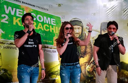 Arshad Warsi, Lauren Gottlieb, Jackky Bhagnani Bollywood actors Arshad Warsi right Lauren Gottlieb center, and Jackky Bhagnani left speak during the trailer launch of their upcoming movie 'Welcome to Karachi' in Mumbai, India, . The film is set for release on May 21