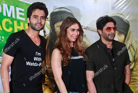 Arshad Warsi, Lauren Gottlieb, Jackky Bhagnani Bollywood actors Arshad Warsi right Lauren Gottlieb center, and Jackky Bhagnani left pose during the trailer launch of their upcoming movie 'Welcome to Karachi' in Mumbai, India, . The film is set for release on May 21