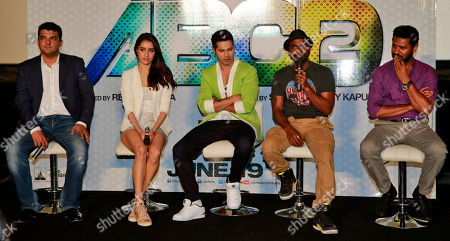 Varun Dhawan, Shraddha Kapoor, Siddharth Roy Kapur, Remo D'Souza, Prabhu Deva From left, Bollywood producer Siddharth Roy Kapur, actress Shraddha Kapoor, actor Varun Dhawan, director Remo D'Souza and Prabhu Deva attend the trailer unveiling of ABCD 2 (Any Body Can Dance 2) in Mumbai, India, . The movie is scheduled for release on June 19, 2015