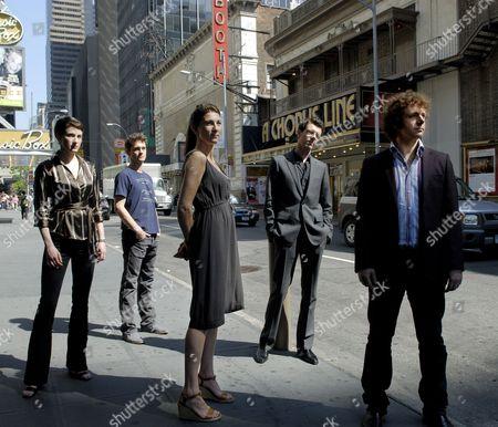 British actors Michael Sheen, Gavin Lee, Eve Best, Hugh Dancy and Xanthe Elbrick Photographed on 45th street