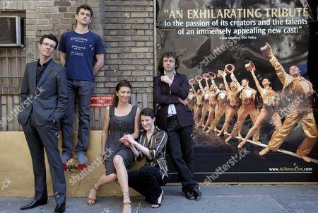 British actors Michael Sheen, Xanthe Elbrick, Eve Best, Hugh Dancy and Gavin Lee Photographed on 45th street