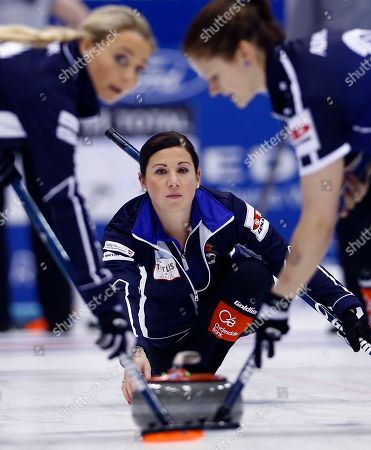 Sarah Reid Scotland's Sarah Reid, center, watches after releasing the rock in the first end during their match against Russia for bronze medal at the World Women's Curling Championship in Sapporo, northern Japan