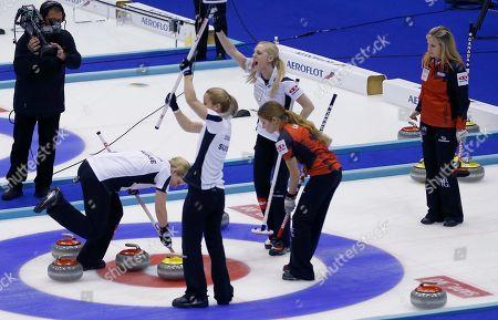 Nadine Lehmann, Marisa Winkelhausen, Nicole Schwaegli Switzerland's Marisa Winkelhausen, front center, and Nadine Lehmann, second right in the back, celebrate after winning their final match against Canada at the World Women's Curling Championship in Sapporo, northern Japan