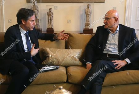 Stock Image of Tamam Salam, Antony Blinken Lebanese Prime Minister Tamam Salam, right, meets with US Deputy Secretary of State Antony Blinken, at Salam's residence, in Beirut, Lebanon, . Blinken arrived to Beirut for a two-day visit where he will meet with Lebanese officials and the governor of the Lebanese Central Bank
