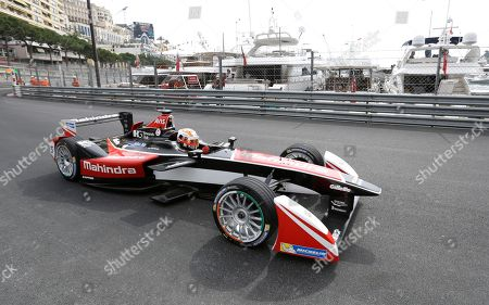 Karun Chandhok of India steers his Mahindra Racing Formula E car during a qualifying round for the Formula E Monaco ePrix auto race, in Monaco