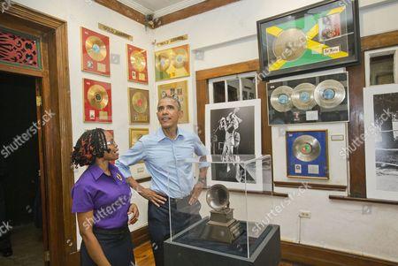 Barack Obama, Natasha Clark U.S. President Barack Obama visits the Bob Marley Museum with tour guide Natasha Clark, in Kingston, Jamaica