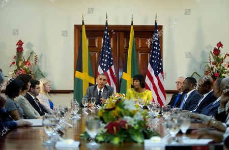 Barack Obama, Portia Simpson-Miller President Barack Obama and Jamaican Prime Minister Portia Simpson-Miller during their bilateral meeting at the Jamaica House, in Kingston, Jamaica