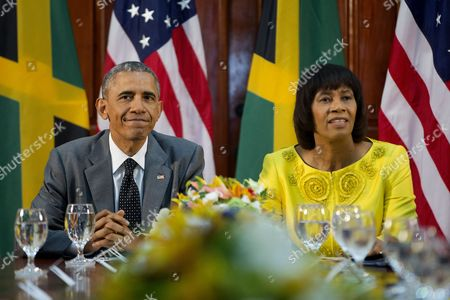 Barack Obama, Portia Simpson-Miller US President Barack Obama and Jamaican Prime Minister Portia Simpson-Miller during their bilateral meeting at the Jamaica House, in Kingston, Jamaica. The president said Thursday that he soon decide whether to remove Cuba from the U.S. list of state sponsors of terrorism now that the State Department has finished a review on the question as part of the move to reopen diplomatic relations with the island nation
