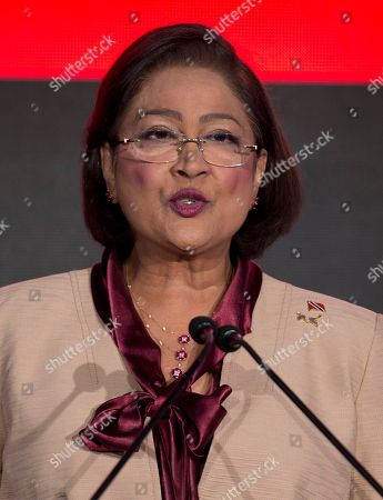 Stock Photo of Kamla Persad-Bissessar Trinidad and Tobago's Prime Minister, Kamla Persad-Bissessar delivers her speech during the CEO Summit of the Americas in Panama City, . The second CEO Summit organized by Panama's government and the Inter-American Development Bank, gathers business and political leaders, just before the start of the VII Summit of the Americas