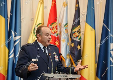 NATO's Supreme Allied Commander Europe, General Philip Breedlove talks during a media briefing in Bucharest, Romania, . Breedlove said a convoy of U.S. troops crossing eastern Europe is a way of reassuring allies of the military alliance's support and of practicing little-used skills