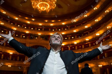 Vladimir Vasiliev, Vincent de Kort Russian dancer and choreographer Vladimir Vasiliev poses for photographers while celebrating his 75th birthday at a rehearsal of the theatrical production of Dona Nobis Pacem, which he staged and choreographed, Bolshoi Theatre, Moscow, Russia