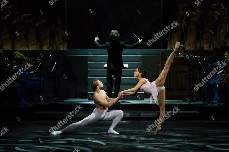Dancers perform in the theatrical production of Dona Nobis Pacem, which is choreographed and staged by Vladimir Vasiliev, who today celebrates his 75th birthday, Bolshoi Theatre, Moscow, Russia, . The premiere will be held on Saturday, April 18, 2015