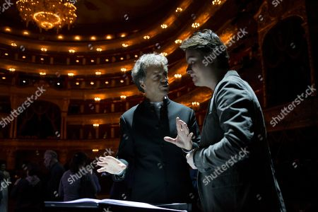 Vincent de Kort On, Dutch opera conductor Vincent de Kort, left, gestures while speaking to his Italian assistant Alessandro Bicci, right, during a rehearsal of the theatrical production Dona Nobis Pacem, choreographed and staged by Vladimir Vasiliev, Bolshoi Theatre, Moscow, Russia
