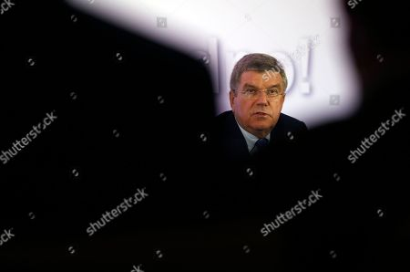 Stock Picture of International Olympic Committee (IOC) President Thomas Bach speaks during a press conference, in Belgrade, Serbia, . Serbian Olympic Committee president Vlade Divac says IOC's decision to grant Kosovo full recognition will not affect relations with the Olympic governing body. Despite opposition from Serbia, the IOC granted Kosovo, a former Serbian province which in 2008 declared independence, full recognition in December. Thus, athletes from Kosovo will be able to compete at the 2016 Summer Games