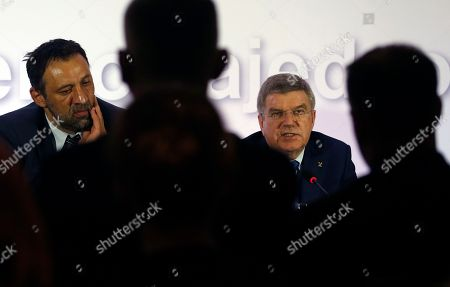 Stock Image of International Olympic Committee (IOC) President Thomas Bach, right, speaks at a press conference with Serbian Olympic Committee President Vlade Divac, in Belgrade, Serbia, . Serbian Olympic Committee president Vlade Divac says IOC's decision to grant Kosovo full recognition will not affect relations with the Olympic governing body. Despite opposition from Serbia, the IOC granted Kosovo, a former Serbian province which in 2008 declared independence, full recognition in December. Thus, athletes from Kosovo will be able to compete at the 2016 Summer Games