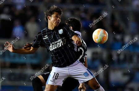 Martin Rivas, Oscar Romero Oscar Romero of Argentina's Racing Club, front, fights for the ball with Martin Rivas of Uruguay's Wanderers during a Copa Libertadores soccer game in Montevideo, Uruguay. The 21 year old Romero will join the Paraguayan national soccer team as it heads towards the 2015 Copa America