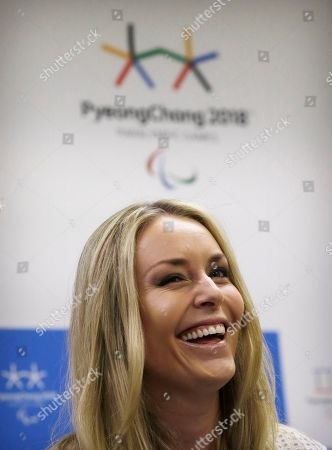 Lindsey Vonn U.S. Olympic skier Lindsey Vonn smiles during a ceremony after being appointed as an honorary ambassador for the 2018 Winter Olympic Games in Pyeongchang, in Seoul, South Korea, . Vonn is the first foreign individual organizers appointed for the role and she joins a list of high-profile South Korean sports stars such as former Olympic figure skating champion Kim Yu-na and Texas Rangers outfielder Shin-Soo Choo, according to Pyeongchang's organizing committee