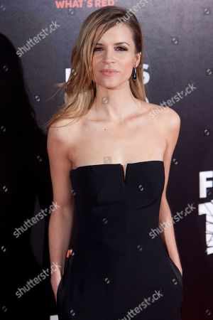 Stock Photo of Paula Cancio Spanish actress Paula Cancio poses for photographers during the premiere of the spanish film: 'Felices 140' in Madrid on