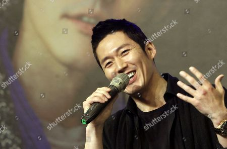 Stock Photo of Jang Hyuk South Korean actor Jang Hyuk smiles as he speaks during a media event before a meeting with his fans in Taipei, Taiwan