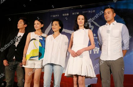 """Lawrence Ko, Angelica Lee, Sylvia Chang, Isabella Leong, Joseph Chang Taiwanese director Sylvia Chang, center, poses with actors, from left, Lawrence Ko of Taiwan, Angelica Lee of Malaysia, Isabella Leong of Macau and Joseph Chang of Taiwan, for a photo during a promotional event for their latest movie """"Murmur of the Hearts"""" in Taipei, Taiwan. Chang is making a comeback after a seven-year hiatus with """"Murmur of the Hearts,"""" which pairs seasoned actors with fresh faces to tell a story about three young people with a broken past struggling with finding compassion in their relationships"""
