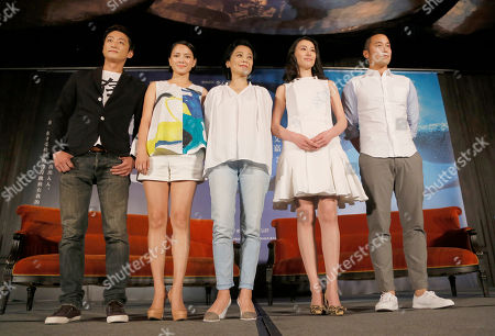 """Lawrence Ko, Angelica Lee, Sylvia Chang, Isabella Leong, Joseph Chang From left to right: Taiwanese actor Lawrence Ko, Malaysian actress Angelica Lee, Taiwanese director Sylvia Chang, Macanese actress Isabella Leong and Taiwanese actor Joseph Chang pose for a photo during a promotional event for their latest movie """"Murmur of the Hearts"""" in Taipei, Taiwan, . The film premiers in Taiwan on April 10"""