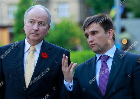 Pavlo Klimkin,Rob Nicholson Ukrainian Foreign Minister, Pavlo Klimkin, right, talks with Canada's Foreign Minister Rob Nicholson, during his visit, in Kiev, Ukraine