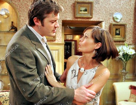 'Emmerdale'  TV - 2005 -  Callum Rennie (Andrew Whipp) tries to comfort Zoe Tate (Leah Bracknell) but when he tries to push their relationship further she loses it.