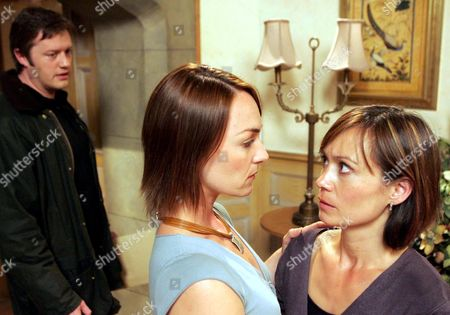 'Emmerdale'  TV - 2005 -  Callum Rennie (Andrew Whipp) arrives with the Visa's and passports for him and Zoe Tate (Leah Bracknell) to leave together and is surprised to walk in on Zoe and Effie Harrison (Phillipa Peak) kissing each other.