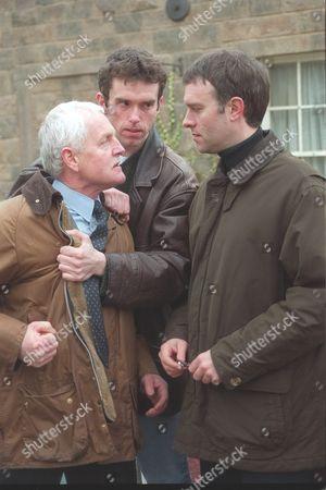'Emmerdale'  TV - 2000  Eric Pollard [Chris Chittell], Marlon Dingle [Mark Charnock] and Graham [Kevin Pallister]